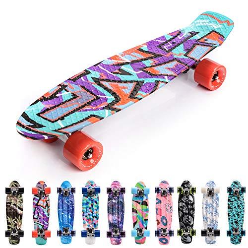 meteor Monopatín Retro plástico Skateboard Completo Patineta para Niños Jóvenes Adultos Mejor Calidad Robusto Ligero Ruedas - Buen Regalo (Graffiti)