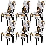 TMILIATRAY Fundas para Sillas Pack de 6 Fundas Sillas Comedor Funda Silla Elásticas Modernas Funda Desmontables Lavables Cubiertas para Sillas para Banquete Oficina Boda Bar(6 Piezas,Geometría 01)