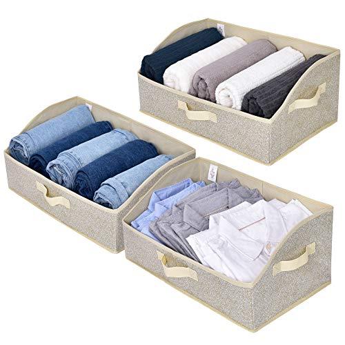 GRANNY SAYS Trapezoid Storage Bin Closet Bins for Shelves Closet Shelf Organizer Baskets Beige 3-Pack