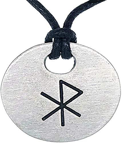 Tribal Jewelry Love Bind Rune Gebo-Wunjo Elder Futhark Celtic Pagan Runic Viking Norse Icelandic Protection Amulet Pewter Men's Pendant Necklace Lucky Charm Medallion for men w Black Adjustable Cord