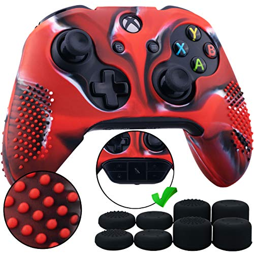 9CDeer 1 Piece of Studded Protective Silicone Cover Skin Sleeve Case + 8 Thumb Grips Analog Caps for Xbox One/S/X Controller Camouflage Red Compatible with Official Stereo Headset Adapter