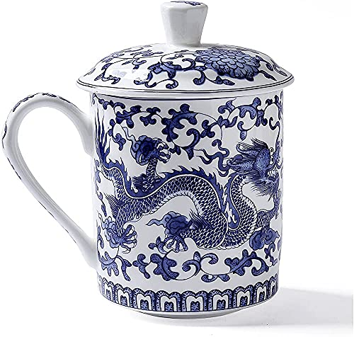 DIHAO Euro Style Art Bone China Ceramic Tea Coffee Cup for Breakfast Home Kitchen,Blue
