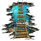 Boden Aufkleber 3D Bodenaufkleber Zugbrücke Wandtattoo Wandaufkleber Decal Wand Sticker Wohnzimmer Schlafzimmer Boden Deko (Ks6658)