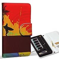 スマコレ ploom TECH プルームテック 専用 レザーケース 手帳型 タバコ ケース カバー 合皮 ケース カバー 収納 プルームケース デザイン 革 クール サーフィン ヤシの木 001216