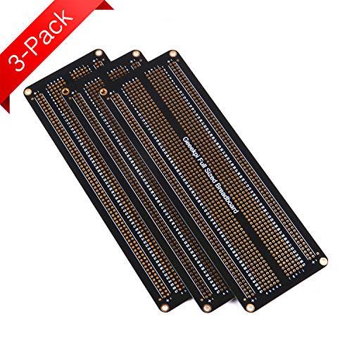 GeeekPi 3 Stk Prototyp Breadboard PCB Board Vergoldete Experimentelle Breadboard Lötbare Platine Doppelseitige PCB DIY Kit für Arduino (Full Size)