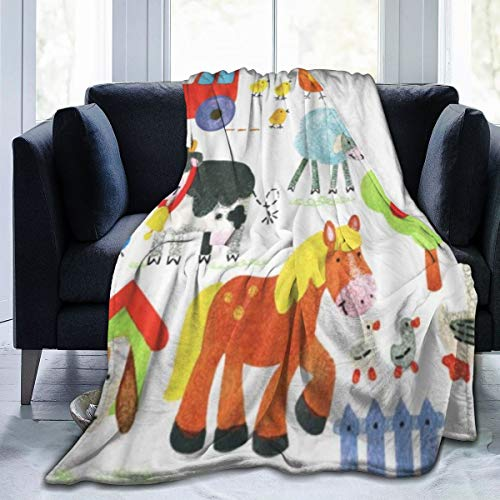 AIKIBELL Manta de Microfibra Ultra Suave,Acuarela Animales Granja Dibujos Animados Mascota Aves Personaje Pollo Gallo País,Decoración para el hogar,cálida Manta para sofá Cama,80