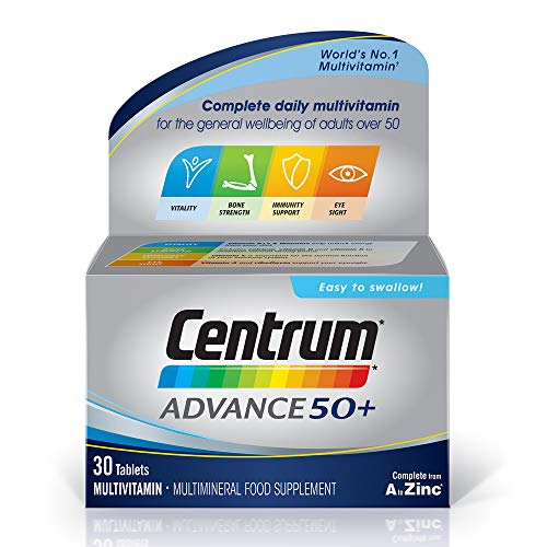 Centrum Advance 50 Plus Multivitamins and Minerals tablet, 30 tablets (1 month supply), 24 key nutrients Vitamins and Minerals for men and women over 50, Vitamin D, Complete from A - Zinc