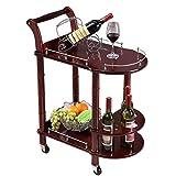 Las Bebidas Pueden moverse Madera Maciza de Estilo Europeo con Bodega Cocina Rueda de Goma Dos bandejas, 63 X 39 X 86CM (Color: A)