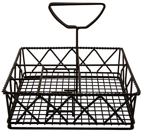 G.E.T. Enterprises Black Metal Five Compartment Condiment Caddy Iron Powder Coated Table Caddies Collection 4-931832 (Pack of 1)