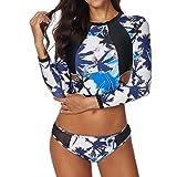 Bañador Deportivo Mujer, Dragon868 Dos Piezas Conjunto de Traje de Baño Estampado Tropical Swimsuit Manga Larga de Top Bañador Shorts y Bermudas Ropa para Surf y Neopreno