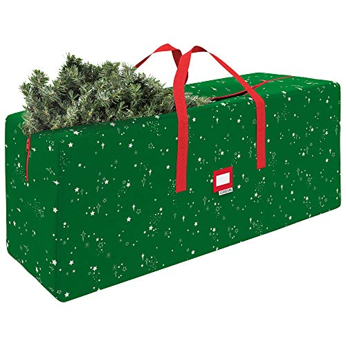 "CLOZZERS Christmas Tree Storage Bag - Measures 65 x 15 x 30"" for Trees up to 9 Feet Tall, Heavy Duty, Dust Protection and Water Resistant, Durable Zipper Closure and Sturdy Handles, Green Stars Print"