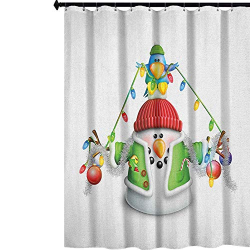 YUAZHOQI Snowman Fabric Shower Curtain Cartoon Whimsical Character with Christmas Garland Blue Bird Various Xmas Elements Decor Bath Curtain with Hooks 60' x 72' Multicolor