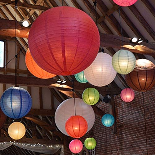 "Multicolor Decorative Party Paper Lanterns - 16-Pack - Hanging Paper Lantern Decorations 4"", 6"", 8"", 10"" Set - Outdoor, Indoor Party Paper Lanterns Kit - Easy-to-Assemble & Hang - Perfect Décor Gift"