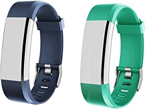 Heckia ID115 HR Plus Fitness Tracker Bands, Adjustable Replacement Straps for ID115 HR Plus, Not for ID115/ID115U, Slim Smart Wristbands, Blue and Red