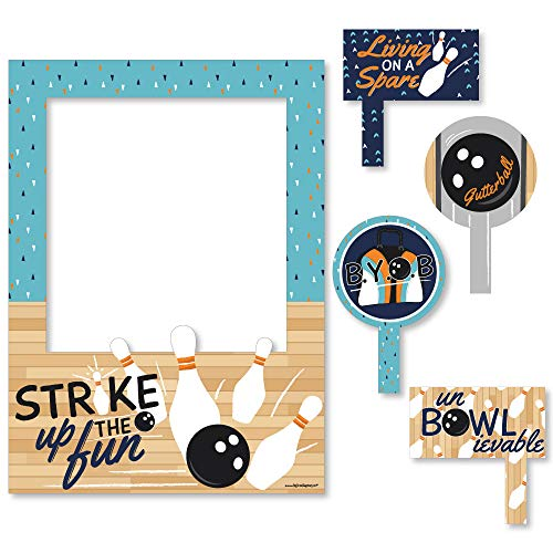 Big Dot of Happiness Strike Up The Fun - Bowling - Birthday Party or Baby Shower Selfie Photo Booth Picture Frame & Props - Printed on Sturdy Material