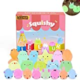 LEEHUR Party Favors Mochi Glitter Squishies 20pcs Glow in The Dark Animals Squishy Kids Squeeze Sensory Toys Kawaii Easter Egg Fillers Basket Stocking Stuffers Goodie Bag Class Prize Random