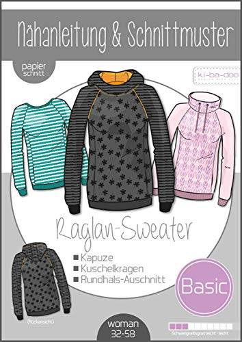 Papierschnittmuster Basic Raglan Sweater Damen Schnittmuster und Anleitung als Broschüre Größe 32-58