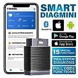 TOPDON Adaptador Bluetooth OBD2 SmartDiag Mini, dispositivo de diagnóstico automático con diagnóstico amplio del sistema y 15 funciones especiales, funciones OBD2, AutoVIN para Android e iOS