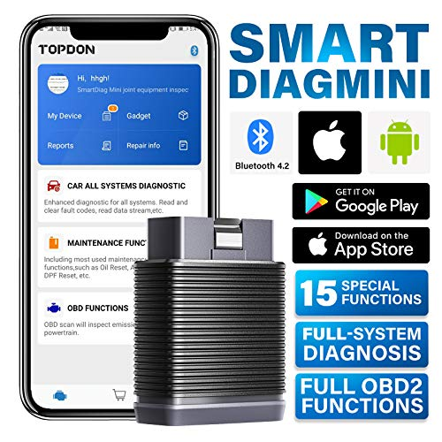 TOPDON SmartDiag Mini OBD2 Scanner Bluetooth Senza Fili Diagnostica Auto OBDII Completa 15 Funzioni Speciali AutoVIN per Android e iOS