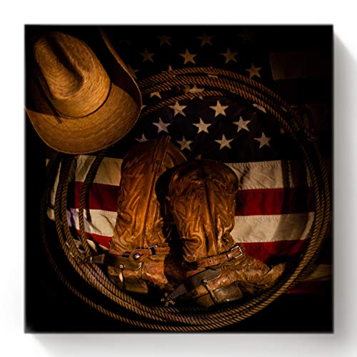 BABE MAPS Western Hat Paint by Number, DIY Oil Painting Paint by Number Kit for Kids Adults Beginner, Painting Arts for Home Decor 16x16 Inch American Flag with Cowboy Boots Rope
