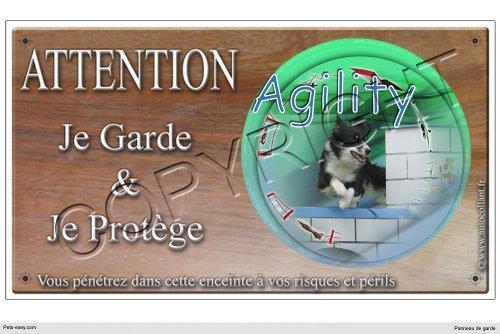 Panneau chien ou plaque Agility-Border-Collie-01 20 cm