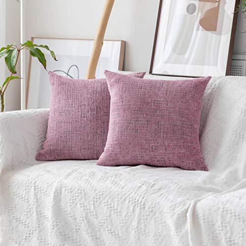 Home Brilliant Decorative Pillow Covers Soft Striped Chenille Plush Cushion Cover for Couch Bed (2Packs, 18 x 18 inch, 45cm), Blush Pink