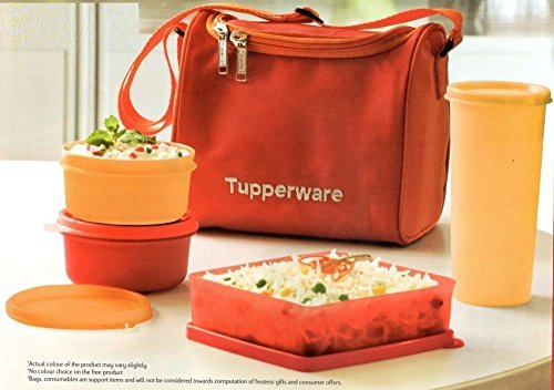 Tupperware Plastic Lunch Set, 4-Pieces and Lunch Bag ( Multicolour )