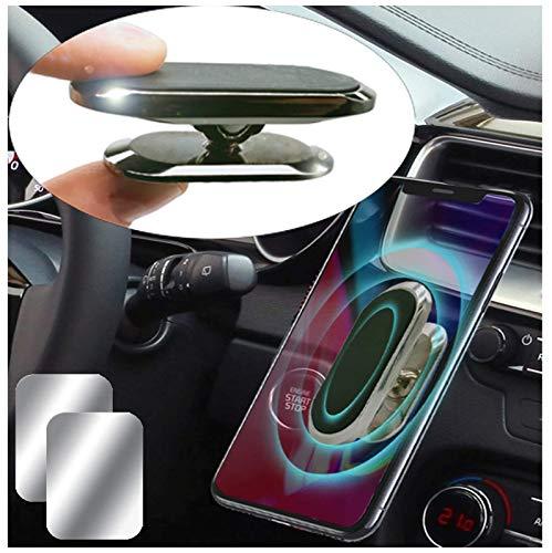 Moogambi Imán Coche móvil Adhesivo Soporte magnético Alargado para Sujetar teléfono móvil con rotación 360º para el Coche o la Pared + 1 Placa metálica + Otra Gratis de Regalo (Plata)