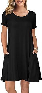 Women's Summer Casual T Shirt Dresses Short Sleeve Swing Dress Pockets