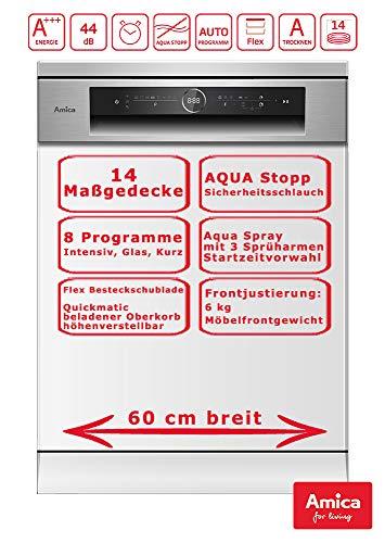 Amica Einbau Geschirrspüler Spülmaschine 60cm integriert, Aqua Stopp, 14 Maßgedecke EGSP 574 930 E