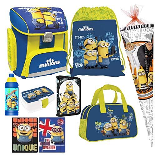 Minions 9 Teile Set blau Schulranzen Schultüte 85 cm Ranzen Federmappe Tornister mit Sticker von Kids4shop