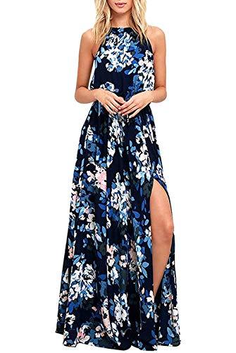 LATH.PIN - Vestito da spiaggia estivo da donna, motivo floreale, con spalle scoperte e fessura frontale, abito bohemien, lungo, per feste, cerimonia 457-bleu L