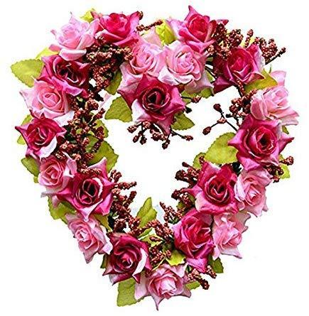 Landy Small Heart Wreath, Hydrangea Wreath Floral Artificial Garland Door Wreath for Home Wedding...