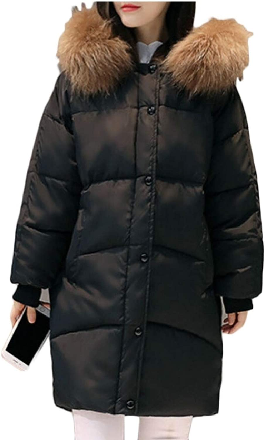 Desolateness Womens Fur Hooded Warm Button Down Parka Coat Outwear Jackets