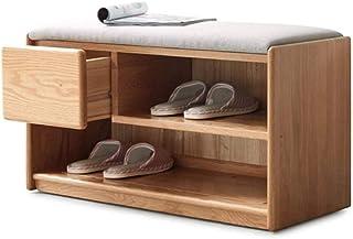 HTGW 100% Meuble à Chaussures en Bois de chêne étagère à Chaussures à 2 Niveaux avec siège éponge Grand Banc à Chaussures ...