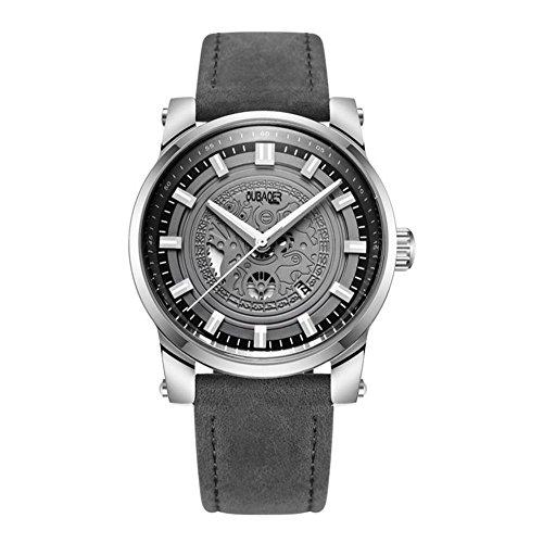 CcCoCc Herren Quarzuhr Zeiger zeigt automatische mechanische Hohle Lederband Uhr, 005