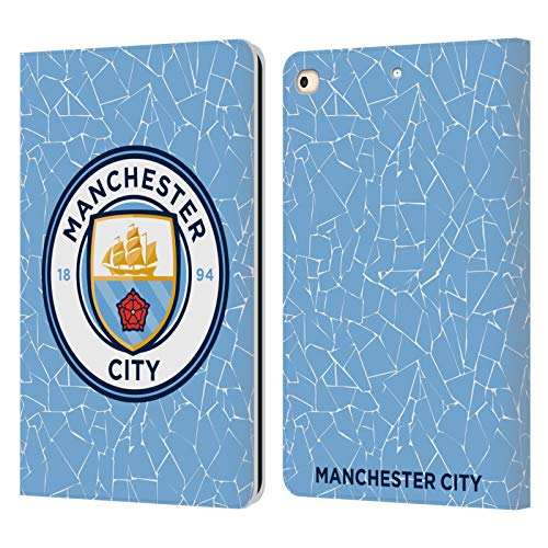 Official Manchester City Man City FC Home 2020/21 Badge Kit Leather Book Wallet Case Cover Compatible For Apple iPad 9.7 2017 / iPad 9.7 2018