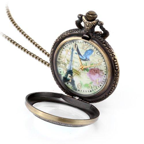 Retro de French JewelryWe de la torre de reloj de bolsillo con lámpara de techo rosa y pájaro para mujer diseño de reloj para hombre con camafeo 78,74 cm incluye cadena (incluye bolsa de regalo)