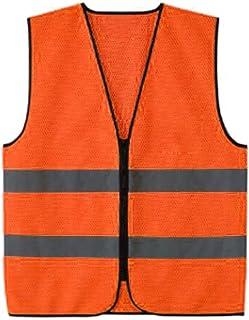 Generic 1x Visibility Zippered Safety Vest with Green/Orange Reflective Stripes - Orange