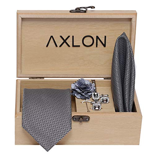 Axlon Men's Micro Polyester Necktie Set with Pocket Square, Brooch Pin and Cufflinks (Grey, Free Size)