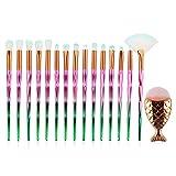 Pincel de maquillaje de sirena, 21 piezas de pincel de maquillaje con mango de diamante, juego de pinceles de maquillaje de sirena, pinceles de maquillaje de sirena, (Pink green)