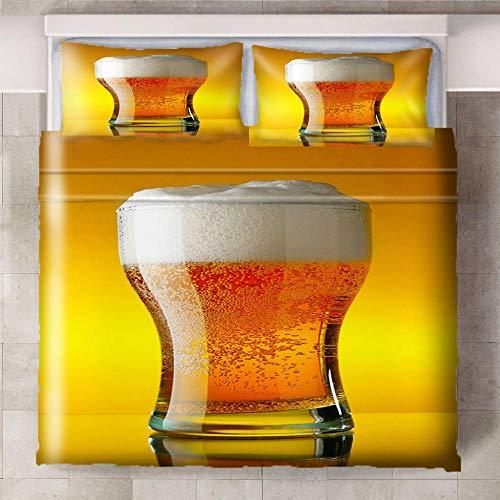 Ababilart Juego De Ropa De Cama De 3 Piezas, Vaso Cerveza Amarillo 240X200 Cm Microfibra Suave Transpirable Juego De Fundas Edredón con 1 Funda Nórdica + 2 Funda De Almohada Suave Y Confortable