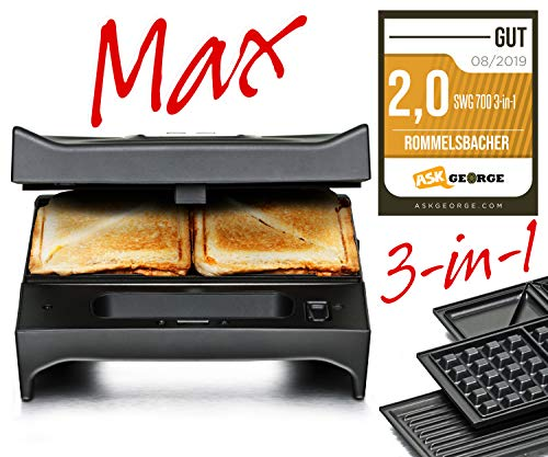 Rommelsbacher SWG 700 3-in-1 MultiToast & Grill Max (Sandwich-Maker, Belgisch wafelijzer, contactgrill, 3 verwisselbare gegoten aluminium platen, 2 lagen anti-aanbaklaag) zwart/roestvrij staal