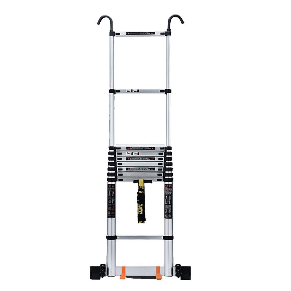 Escalera Telescópica- Escalera Telescópica con Barra Estabilizadora Y Ruedas, 5.1M Escalera Compacta Industrial Plegable De Aluminio del Desván, Capacidad De 330 Libras (Size : 5.1m/16.7ft): Amazon.es: Hogar