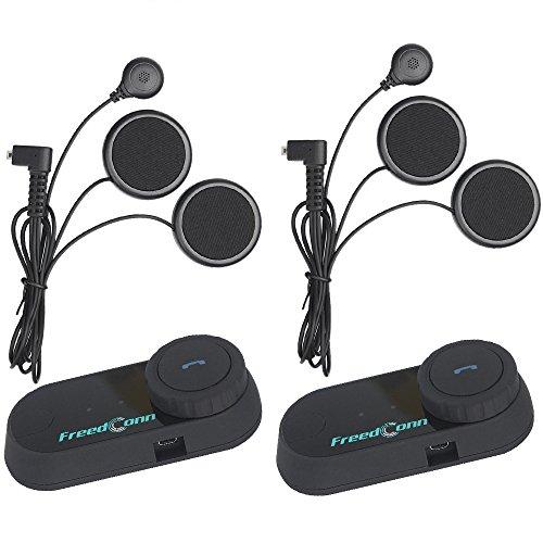 FreedConn T-COM VB 800M Bluetooth Motorrad Helm Interphone Motorrad Intercom Headset Sprechanlage Mit GPS, FM Radio (2 Einheiten mit weichem Kabel Kopfhörer)