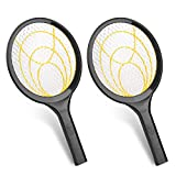 mafiti Electric Fly Swatter, Fly Killer Bug Zapper Racket for Indoor and Outdoor Pest Control, 2AA Batteries not Included (2, Yellow)