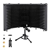 Microphone Isolation Shield with Tripod Stand, SOULGIRL Foldable With 3/8' and 5/8' Mic Threaded Mount,Mic Sound Absorbing Foam Equipment for Studio Sound Recording, Podcasts, Singing, Broadcasting