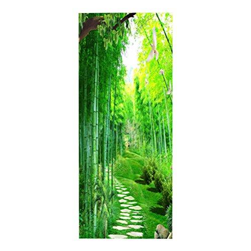 VOSAREA 3D Vinilo para Puertas de Papel Pegatina de Puerta Autoadhesiva Vinilo Removible de Arte Bambú Puerta de Bosque Calcomanías Decoración del Hogar