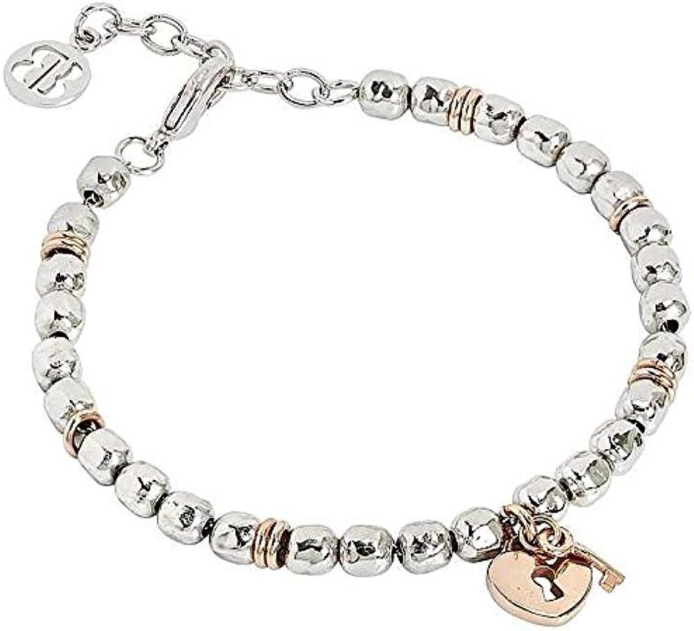 Boccadamo, bracciale beads  per donna, in bronzo rodiato con lucchetto centrale placcato oro rosa XBR440