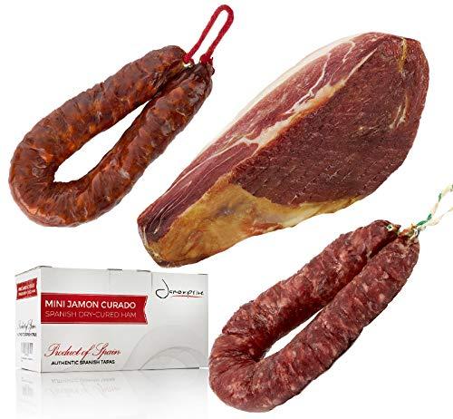 Prosciutto Crudo Serrano Spagnolo Stagionato e Disossato 1 Kg (Jamon Serrano) + Chorizo Salsiccia 200 gr + Salchichón Salsiccia 200 gr - Jamonprive